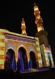 Mezquita iluminada Fotografía de archivo libre de regalías