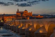 Mezquita katedra i rzymski most, cordoba, Hiszpania fotografia stock