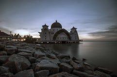 Mezquita Melaka Malasia de los estrechos de Melaka Imagen de archivo