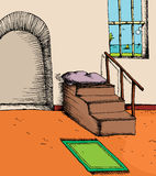 Mezquita por el mar stock de ilustración