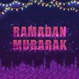 Mezquita que brilla intensamente para Ramadan Mubarak Imágenes de archivo libres de regalías