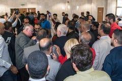 Mezquita que visita de Jeremy Corbyn foto de archivo