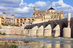 Mezquita and Roman Bridge in Cordoba Royalty Free Stock Images