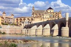 Mezquita and Roman Bridge in Cordoba Royalty Free Stock Images