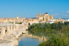 Mezquita and Roman bridge in Cordoba. Andalusia, Spain royalty free stock photo