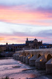 Mezquita and roman bridge at evening, Spain Royalty Free Stock Photo