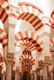 Arches and incredible architecture inside the Mezquita (the Grea Royalty Free Stock Photography