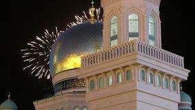Mezquita y fuegos artificiales, Rusia de la catedral de Moscú -- la mezquita principal en Moscú, nueva señal