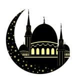 Mezquita y luna para el mes santo musulmán Ramadan Kareem Ramadan Mu Fotos de archivo libres de regalías