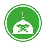 Mezquita y Quran islámicos modernos Logo In Isolated White Background stock de ilustración