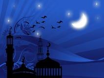 Mezquitas contra noche estrellada Foto de archivo