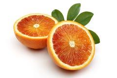 Mezza arancia sanguinella due Immagini Stock