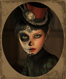 Mezza Catrina Makeup, 3d CG Fotografia Stock