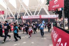Mezza maratona 2014 di Airtel Immagine Stock