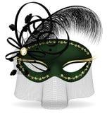 mezza maschera nero-verde Immagini Stock Libere da Diritti