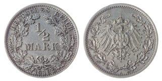 Mezza moneta del segno 1918 isolata su fondo bianco, Germania Fotografia Stock Libera da Diritti