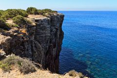 Mezzaluna cliff in San Pietro isle Royalty Free Stock Photo