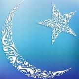 Mezzaluna e stella Fotografia Stock