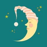 Mezzaluna nel berretto da notte e nelle piccole stelle Immagine Stock