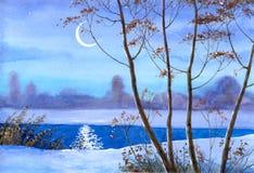 Mezzaluna sopra il fiume di inverno Immagini Stock