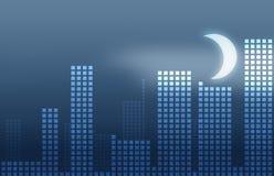 Mezzanotte astratta della città Immagini Stock Libere da Diritti