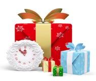 Mezzanotte 3d di manifestazioni dei regali e dell'orologio di Natale Fotografia Stock