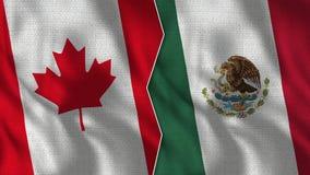 Mezze bandiere del Messico e del Canada insieme immagini stock libere da diritti