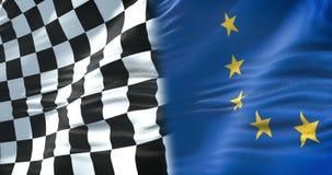 Mezze bandiere della bandiera a quadretti, della corsa dell'estremità e di mezza bandiera di Unione Europea, concorrenza di Formu illustrazione vettoriale