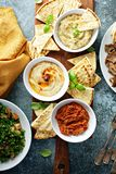 Mezze board with pita and dips. Mediterranean mezze board with pita and dips royalty free stock photography