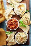 Mezze board with pita and dips. Mediterranean mezze board with pita and dips royalty free stock image