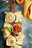 Mezze board with pita and dips. Mediterranean mezze board with pita and dips stock photos