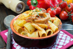Mezze maniche italian pasta Royalty Free Stock Photo
