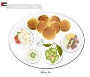 Mezze oder Jordanier sortiert vom orientalischen Lebensmittel vektor abbildung