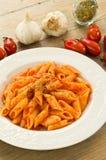 Mezze penne mit Tomatensauce und Oregano Lizenzfreies Stockbild