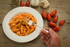 Mezze penne mit Tomatensauce und Oregano Lizenzfreies Stockfoto