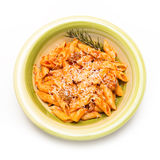 Mezze penne with pork meat and tomato sauce Royalty Free Stock Photos