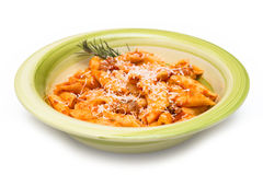 Mezze penne with pork meat and tomato sauce Stock Photo