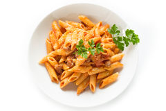 Mezze penne with pork meat and tomato sauce Stock Photos