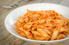 Mezze penne with ragout. Dish of italian pasta topped with ragout sauce Royalty Free Stock Image