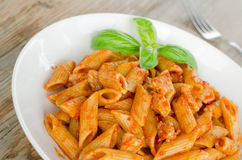 Mezze penne with ragout Stock Photography