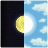 Mezzi Sun & luna royalty illustrazione gratis