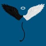 Mezzo angelo e mezze ali del diavolo illustrazione di stock