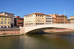 Mezzo Bridge over Arno river in Pisa, Italy Royalty Free Stock Images
