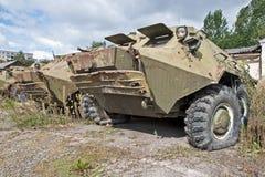 Mezzo corazzato per il trasporto delle truppe corazzato distrutto fotografia stock libera da diritti