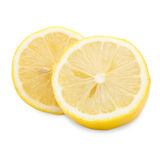 Mezzo limone fresco su fondo bianco Fotografia Stock Libera da Diritti