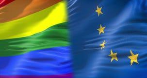 Mezzo ondeggiamento variopinto della bandiera dell'arcobaleno di gay pride e di mezza Unione Europea che ondeggiano, bandiera di  royalty illustrazione gratis