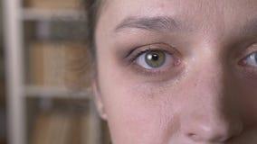 Mezzo tiro del fronte del primo piano della femmina caucasica attraente adulta con gli occhi che esaminano diritto la macchina fo stock footage