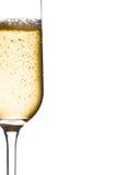 Mezzo vetro di champagne con le bolle e di spazio per testo Fotografie Stock