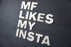 Mf likes my insta. Word white color letter on black background illustration design type graphic creative concept pedryj royalty free stock photos
