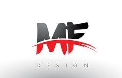 MF M F Brush Logo Letters avec l'avant de brosse de bruissement de rouge et de noir Photo stock
